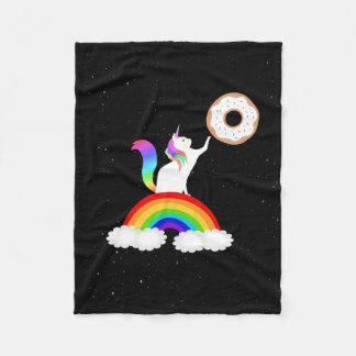 Unicorn Donut Rainbow Cat Fleece Blanket