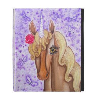 """Unicorn & Dragonflies"" iPad Folio Cases"