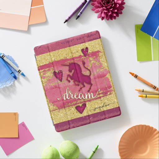 Unicorn Dream Pink Watercolor Gold Glitter Name iPad Smart Cover