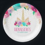 "Unicorn Dreams Birthday Baby Shower Paper Plates<br><div class=""desc"">Whimsical,  Magical,  Unforgettable. Pink,  teal,  purple,  yellow,  and gold. Another exclusive design from Party Mommas.</div>"