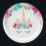"Unicorn Dreams Birthday Party Baby Shower Plates<br><div class=""desc"">Whimsical,  Magical,  Unforgettable.  Pink,  teal,  purple,  yellow,  and gold.  Another exclusive design from Party Mommas.</div>"