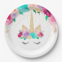 Unicorn Dreams Birthday Party Baby Shower Plates