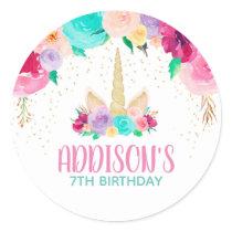 Unicorn Dreams Birthday Party Favor Round Stickers