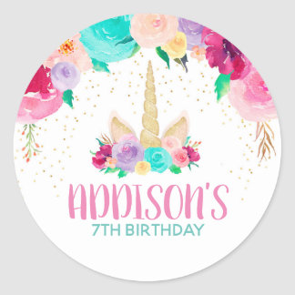 Unicorn Dreams Birthday Party Favor Round Stickers