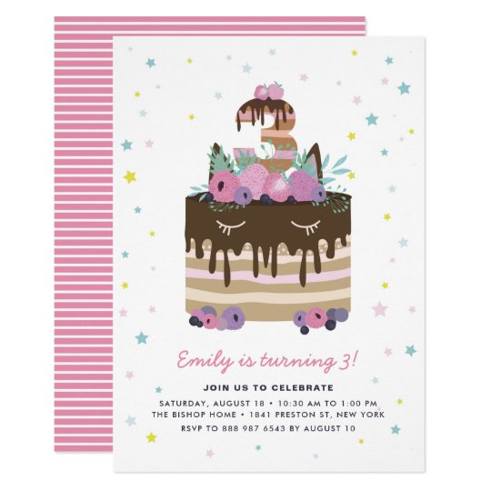 Unicorn Drip Cake 3rd Birthday Party Invitation Zazzle