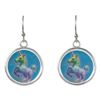 Unicorn Drop Dangly Earrings (Blue Nebula)