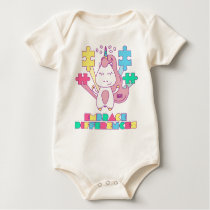 Unicorn Embrace Differences Autism Awareneness Baby Bodysuit