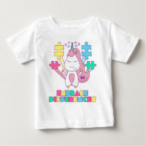 Unicorn Embrace Differences Autism Awareneness Baby T-Shirt