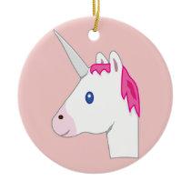 Unicorn emoji ceramic ornament