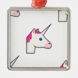 unicorn emoji metal ornament