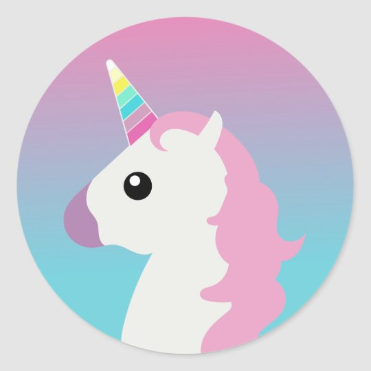 Unicorn Emoji Ombre Stickers Zazzle Com
