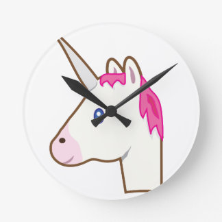 Unicorn emoji round clock