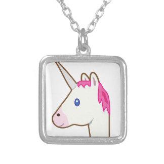 Unicorn emoji silver plated necklace