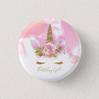 Unicorn Face Birthday Badge Pinback Button