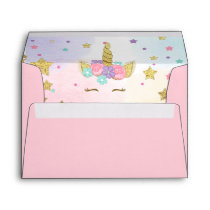 Unicorn Face Birthday Envelope Magical Pink Gold