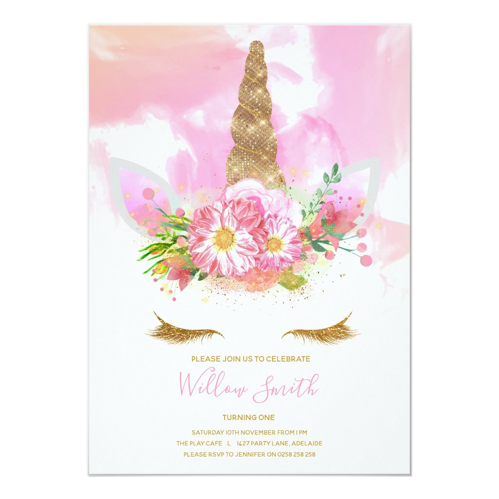 Unicorn Face Birthday Invitation