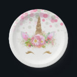 "Unicorn Face Confetti Bubbles Unicorn Paper Plates<br><div class=""desc"">Unicorn paper plates with adorable unicorn face with happy gold eyelashes and horn on a pretty pink floral and pastel confetti polka dot background. These cute unicorn paper plates are easily customized with the text of your choice,  and you can add a background color and remove the dots.</div>"