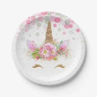 Unicorn Face Confetti Bubbles Unicorn Paper Plates