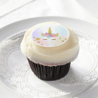 Unicorn Face Cupcake Toppers Frosting Magical Edible Frosting Rounds