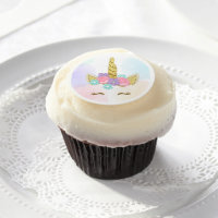 Unicorn Face Cupcake Toppers Frosting Magical Girl Edible Frosting Rounds
