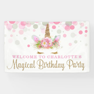 Unicorn Face Cute Unicorn Birthday Party Banner