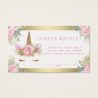 Unicorn Face Diaper Raffle Tickets