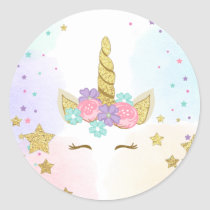 Unicorn Face Favor Tags Magical birthday Pink Gold