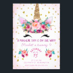 """Unicorn Face Floral Birthday Invitation<br><div class=""""desc"""">Looking for a girl&#39;s unicorn birthday invitation with a bit of bling? This cute design features some watercolor elements including three floral arrangements, some hearts and glitter confetti. I&#39;ve added some watercolor text to the design as well. The girl&#39;s unicorn birthday invitation is ready to be personalized. It&#39;s suitable for...</div>"""