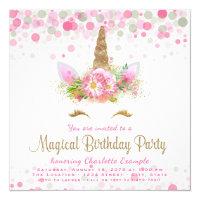 Unicorn birthday invitations announcements zazzle unicorn face girls birthday party invitations filmwisefo