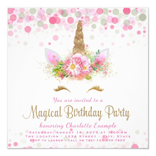unicorn face girls birthday party invitations zazzle com
