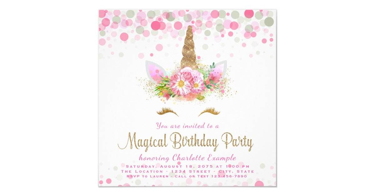 Unicorn Birthday Party Invitations Announcements – Girls Birthday Party Invites