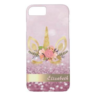 Unicorn Face Glitter Bokeh - Personalized iPhone 8/7 Case