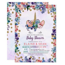 Unicorn Face Glitter Floral Girl Baby Shower Card