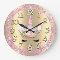 Unicorn Face Gold Crystal Girly Glitter Spark Pink Large Clock