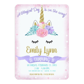 Unicorn Face Gold Glitter Magical Pastel Flowers Card