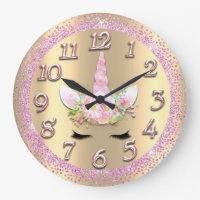 Unicorn Face Gold Numbers Girly Glitter Spark Pink Large Clock