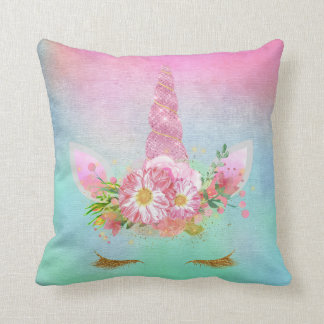 Unicorn Face Horn Lashes Pink Flowers Pastel Mint Throw Pillow