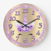 Unicorn Face Numbers Girly Glitter Spark Purple Large Clock