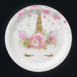"Unicorn Face Paper Plates<br><div class=""desc"">Unicorn paper plates with adorable unicorn face with gold eyelashes and horn on a pretty pink floral and polka dot background. These cute unicorn paper plates are easily customized with the text of your choice,  and you can add a background color and remove the dots.</div>"
