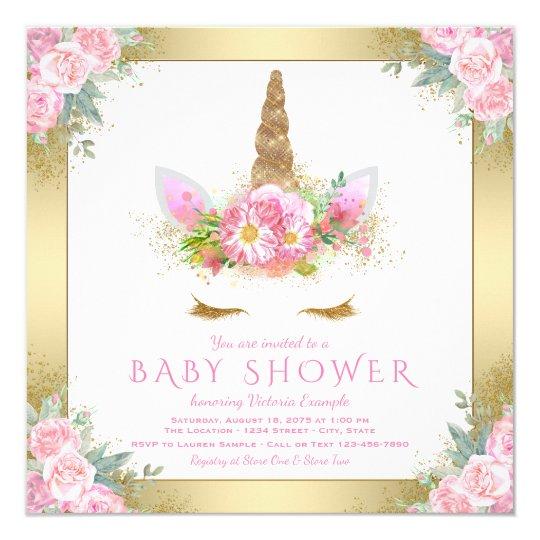 Unicorn Face Pink Gold Baby Shower Invitations Zazzlecom