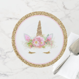 Unicorn Face Pink Gold Cake Stand