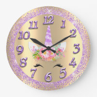 Unicorn Face Pink Gold Girly Glitter Spark Purple Large Clock