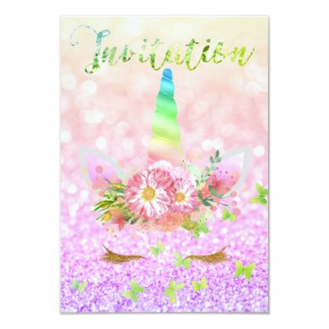 McTiffany Tiffany Aqua Unicorn Face Rose Gold Glitter Lashes Raibow Pink Card