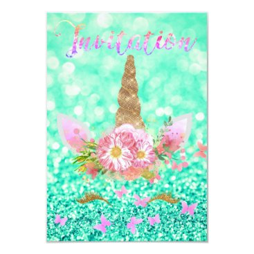 McTiffany Tiffany Aqua Unicorn Face Rose Gold Glitter Lashes Rainbow MInt Card