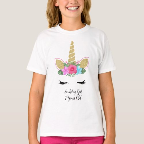 Unicorn Face Tropical Floral Birthday Girl Outfit T_Shirt