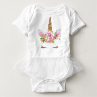 Unicorn Face Tutu Outfit Baby Bodysuit