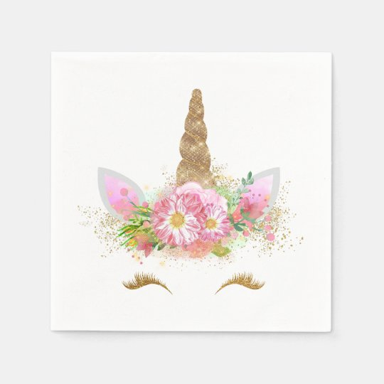 Unicorn Face Unicorn Paper Napkins Zazzle Com