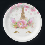 """Unicorn Face Unicorn Paper Plates<br><div class=""""desc"""">Unicorn paper plates with adorable unicorn face with happy gold eyelashes and horn on a pretty pink floral and polka dot background. These cute unicorn paper plates are easily customized with the text of your choice,  and you can add a background color and remove the dots.</div>"""