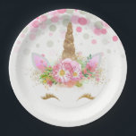 "Unicorn Face Unicorn Paper Plates<br><div class=""desc"">Unicorn paper plates with adorable unicorn face with happy gold eyelashes and horn on a pretty pink floral and polka dot background. These cute unicorn paper plates are easily customized with the text of your choice,  and you can add a background color and remove the dots.</div>"