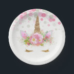 "Unicorn Face Unicorn Paper Plates<br><div class=""desc"">Unicorn paper plates with adorable unicorn face with gold eyelashes and horn on a pretty pink floral and polka dot background. These cute unicorn paper plates are easily customized with the text of your choice,  and you can add a background color and remove the dots.</div>"